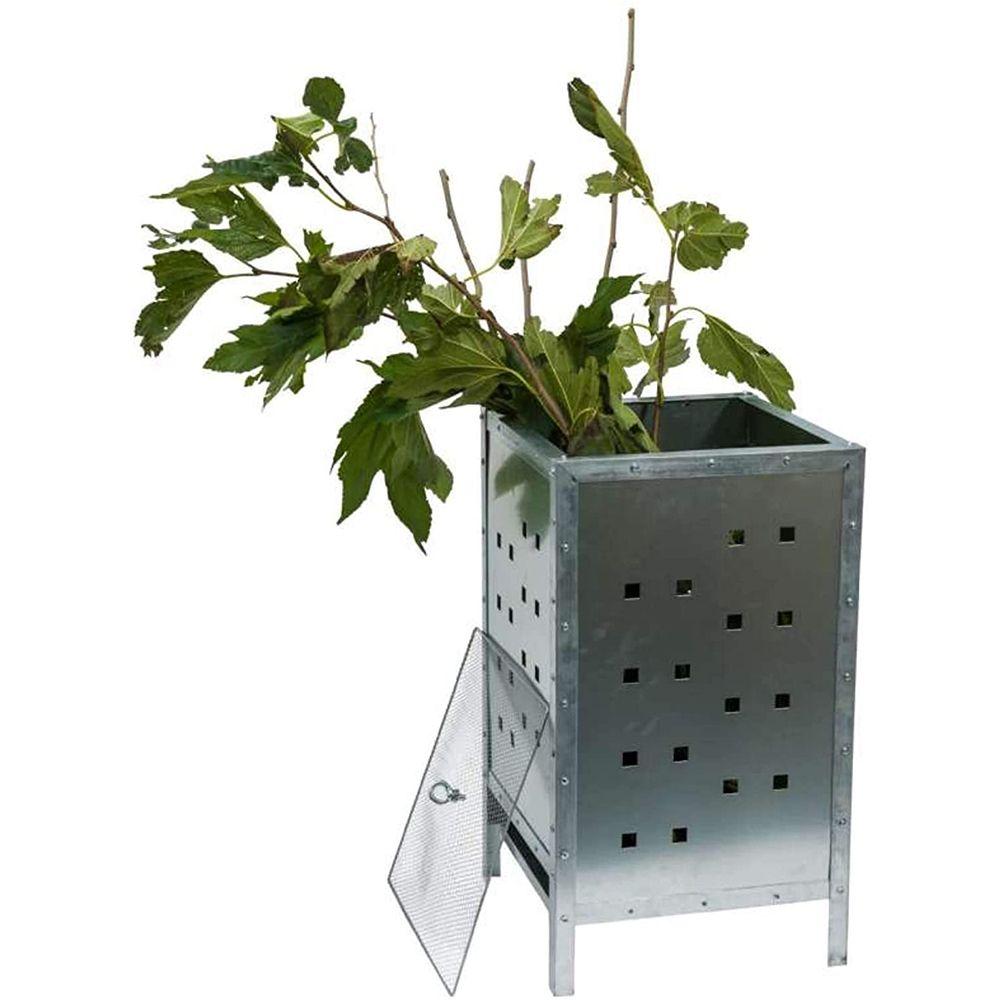 Incinérateur de jardin en acier galvanisé rond de 100 litres - Fineway